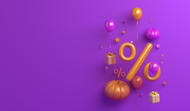 Fundo de venda de feliz dia das bruxas com caixa de presente de balão de símbolo de porcentagem