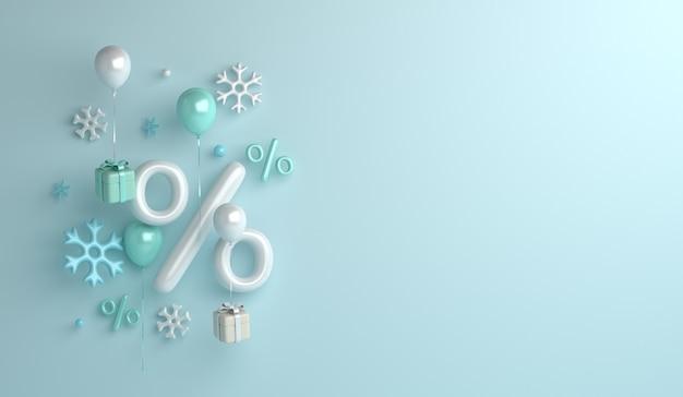 Fundo de venda de inverno com caixa de presente de flocos de neve de balão