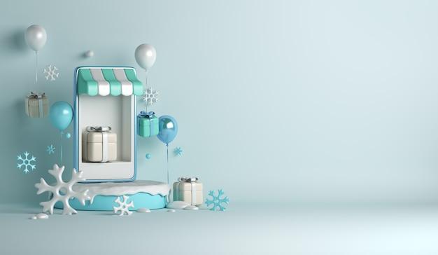 Fundo de venda de inverno com conceito de loja online de caixa de presente de flocos de neve de balão de quiosque para smartphone