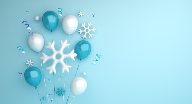 Fundo de venda de inverno com flocos de neve de balão