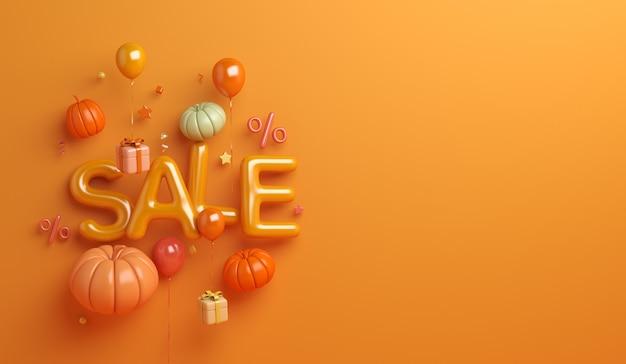 Fundo de venda de outono com caixa de presente de folhas de balão