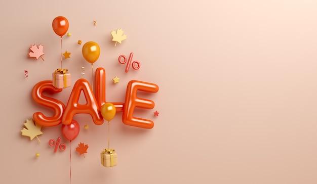 Fundo de venda de outono com caixa de presente de folhas de bordo de balão