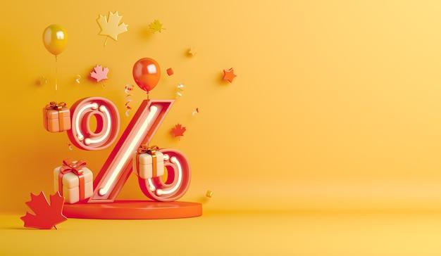 Fundo de venda de outono com luz de néon símbolo percentual folhas de bordo exibir pódio