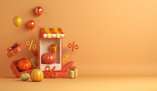 Fundo de venda de outono de halloween com caixa de presente de balão de abóbora em quiosque de smartphone conceito de loja online