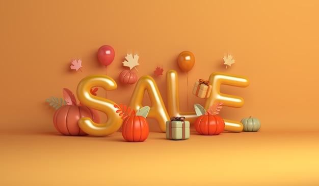 Fundo de venda de outono halloween com caixa de presente de folhas de bordo de balão