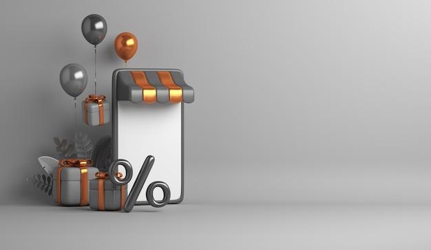 Fundo de venda de sexta-feira negra com conceito de loja online de caixa de presente de balão de quiosque para smartphone