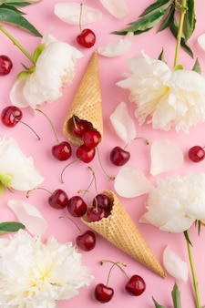 Fundo de verão com cópia espaço na rosa