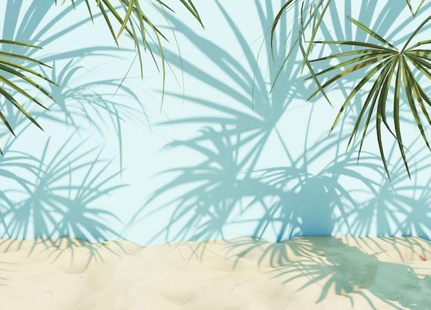 Fundo de verão com sombras de palmeiras