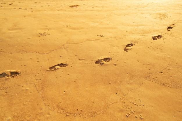 Fundo de verão ensolarado com pegada na areia linda praia