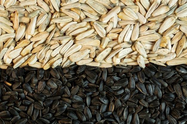 Fundo de vista superior de sementes de girassol preto e branco