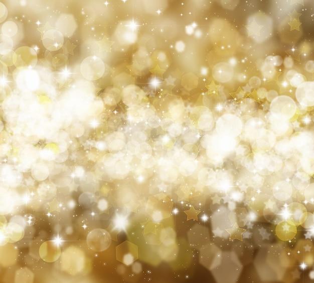 Fundo decorativo de natal com estrelas e luzes bokhe