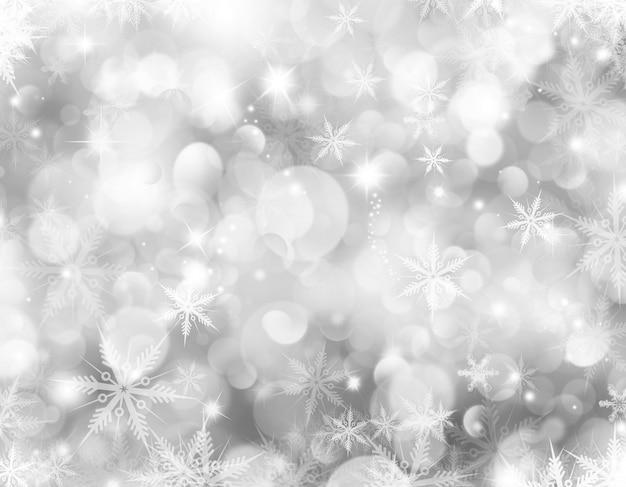 Fundo decorativo de natal com flocos de neve e estrelas