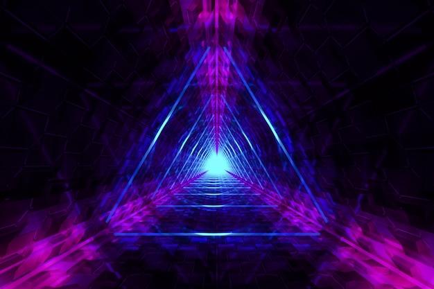 Fundo desfocado abstrato com luzes de triângulos de néon