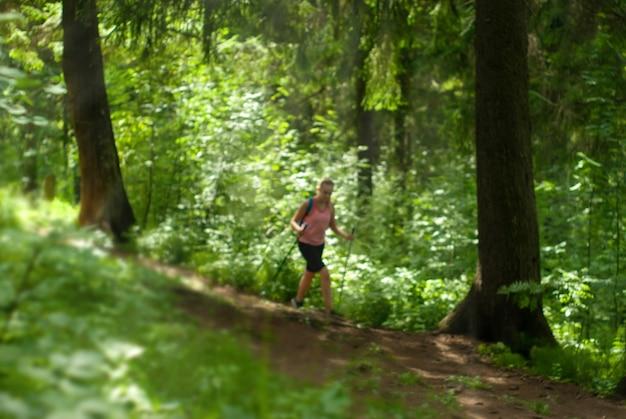 Fundo desfocado de uma floresta ensolarada, ao fundo os contornos de uma mulher caminhando