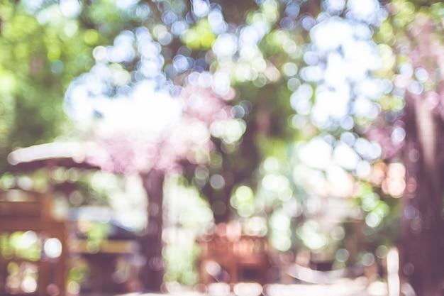 Fundo desfocado do jardim ao ar livre com árvore com luz do sol de bokeh
