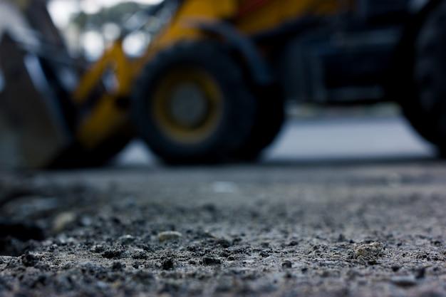 Fundo desfocado, estradas de reparação. construção de estrada.