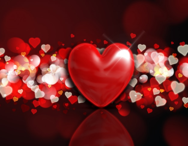 Fundo dia dos namorados com um coração 3d em um projeto luzes do bokeh vermelho e dourado