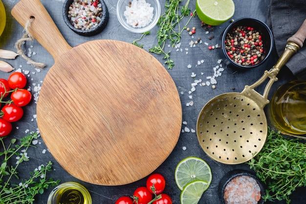 Fundo diferente de especiarias e legumes