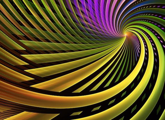 Fundo dinâmico de cor abstrata com efeito de iluminação. espiral fractal. arte fractal