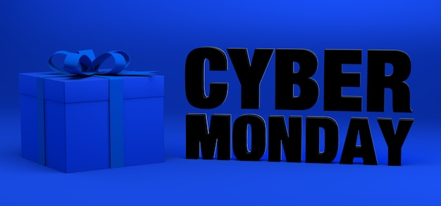 Fundo do banner da cyber monday com presente ou caixa de presente