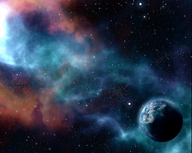 Fundo do céu 3d noite estrelada com planeta abstrato e nebulosa