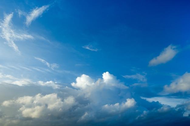 Fundo do céu azul com pequenas nuvens. nuvens fofas no céu. fundo do céu de verão