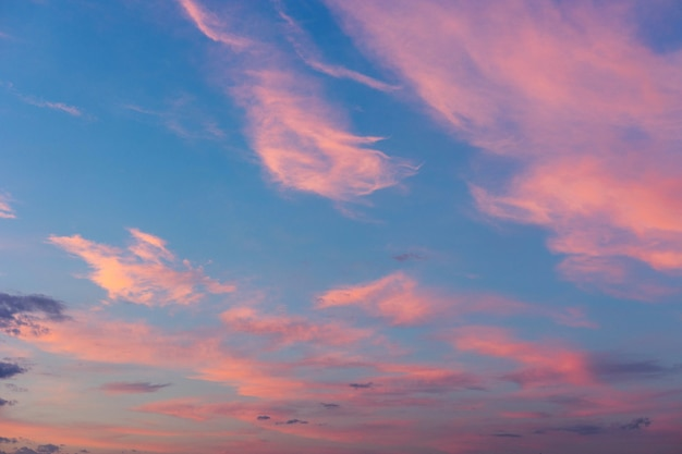 Fundo do céu do pôr do sol do nascer do sol majestoso real com nuvens coloridas suaves, sem pássaros. panorâmico.