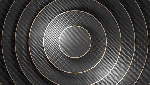 Fundo do círculo de tamanho diferente com padrão de fibra de carbono