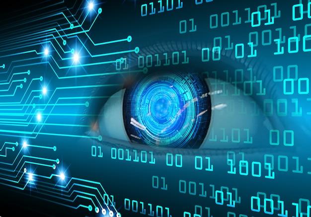 Fundo do conceito de tecnologia do futuro do circuito cibernético do olho cadeado fechado no digital