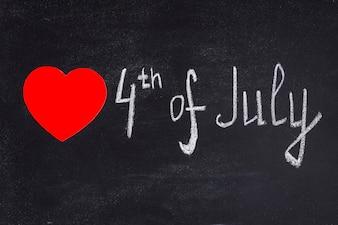 Fundo do dia da independência com giz e coração