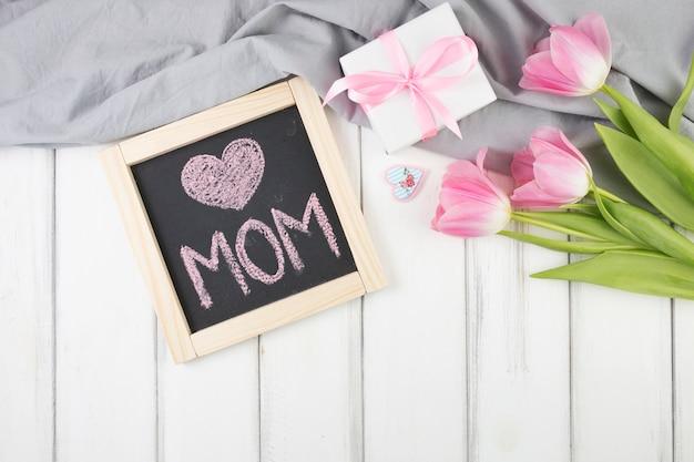 Fundo do dia das mães com ardósia