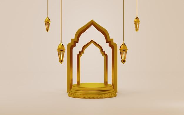 Fundo do elemento ramadan kareem com pódio e lanterna