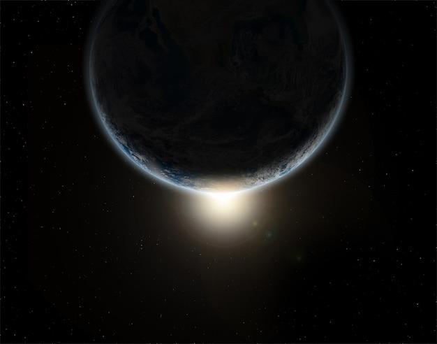 Fundo do espaço 3d com o planeta terra em eclipse - elementos desta imagem fornecidos