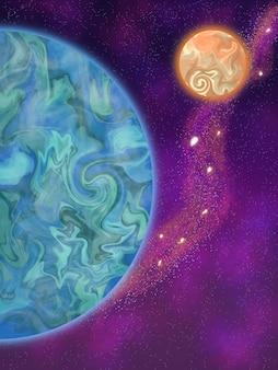 Fundo do espaço com dois planetas e estrelas