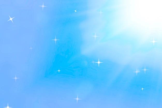 Fundo do espaço com luz e flashes. gradiente roxo e azul e estrelas cintilantes