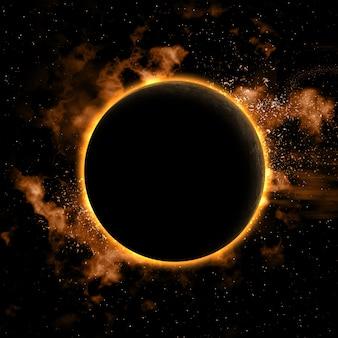 Fundo do espaço com planeta nebual e eclipsada