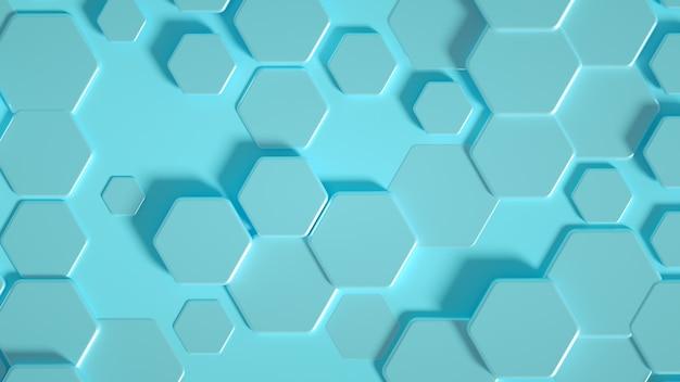 Fundo do hexágono de geometria. ilustração 3d, renderização em 3d.