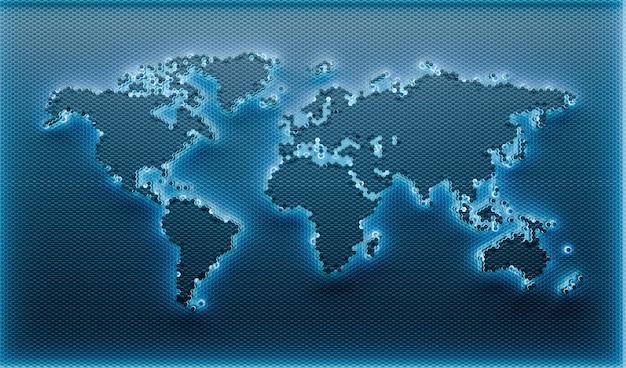Fundo do mapa do mundo geométrico. ilustração 3d