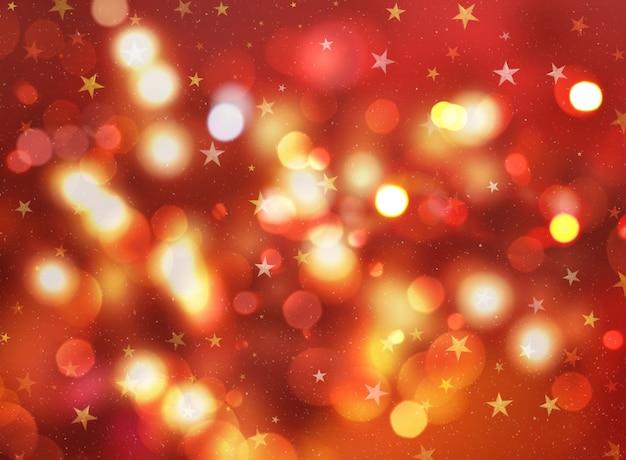 Fundo do natal com estrelas e luzes do bokeh