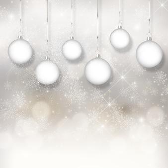 Fundo do natal com luzes do bokeh e baubles de suspensão