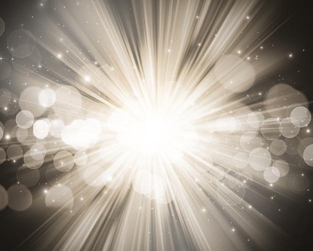 Fundo do natal com luzes do bokeh e estrelas