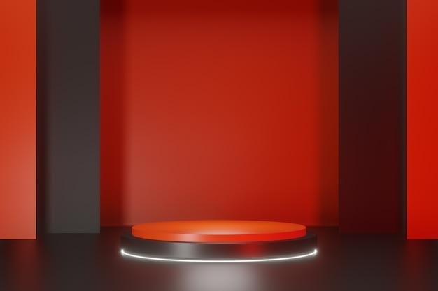 Fundo do palco do pódio do cilindro preto vermelho. renderização de ilustração 3d.