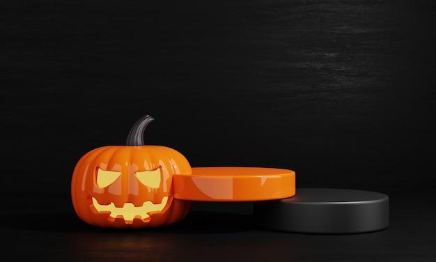 Fundo do palco do pódio do produto abóbora laranja e preta do dia do dia das bruxas renderização da ilustração 3d