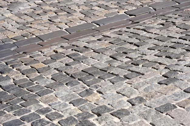 Fundo do pavimento de paralelepípedos