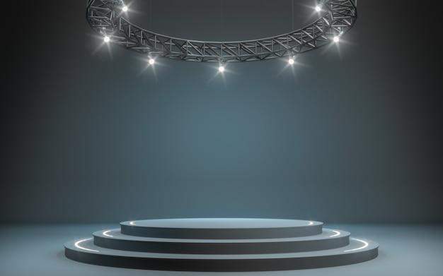 Fundo do projector e lâmpada com estágio. renderização em 3d