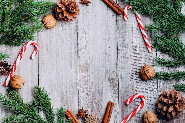 Fundo do quadro da composição do feriado do natal.