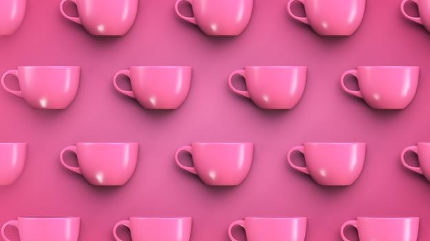 Fundo do tema talheres. canecas-de-rosa em fundo rosa.