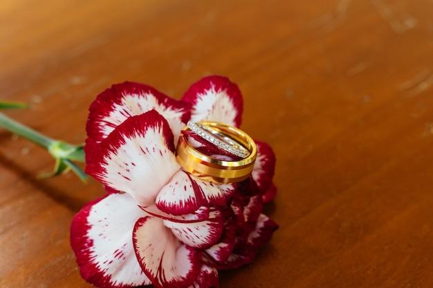 Fundo do teste padrão do close up das alianças de casamento.