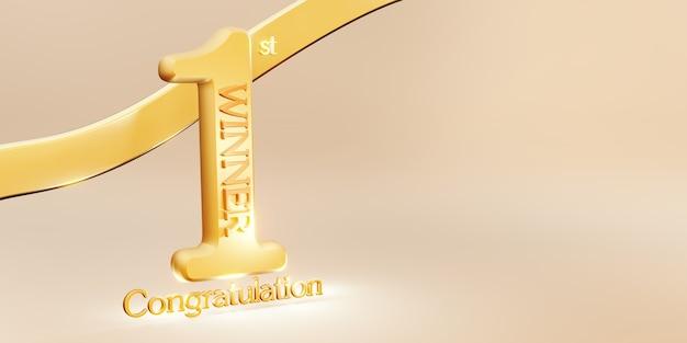 Fundo do texto do vencedor, vitória do 1º lugar e ilustração 3d da mensagem de congratulação