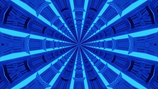 Fundo do túnel azul abstrato formado com ornamento abstrato simétrico